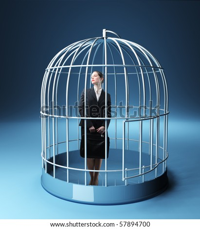 standing businesswoman in a 3d birdcage - stock photo
