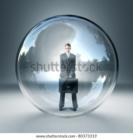 standing businesswoman in 3d glass sphere - stock photo