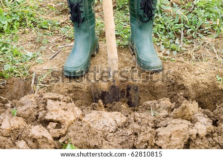 Standing by gardening spade in plastic green boots