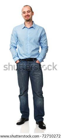standing caucasian businessman isolated on white background - stock photo