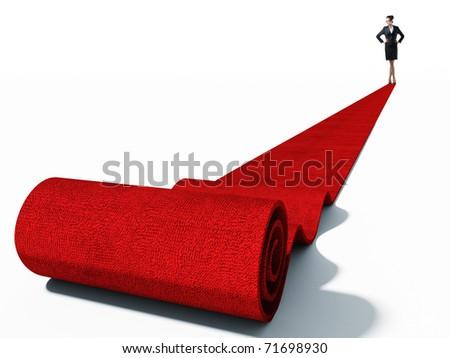standing caucasian businesswoman on red carpet - stock photo