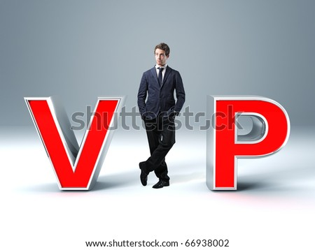 standing caucasian man and 3d vip text - stock photo