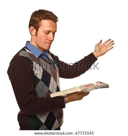 standing caucasian man with book isolated on white