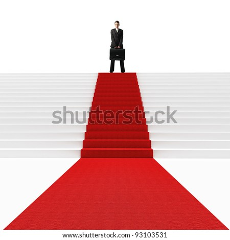 standing caucasian woman on 3d stair with red carpet