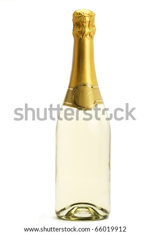 standing champagne bottle on white background - stock photo