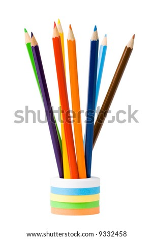 standing color pencils isolated