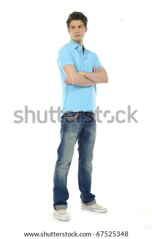 standing confident man isolated on white background - stock photo