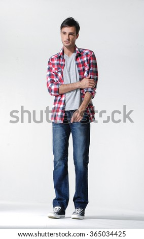 standing confident young man isolated - full body,