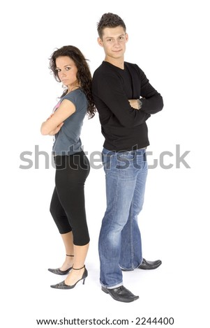 standing couple (white background) - stock photo