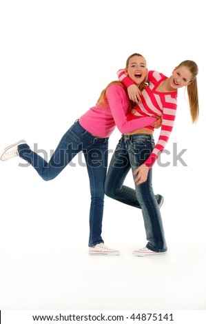 standing couple young friends having fun - stock photo