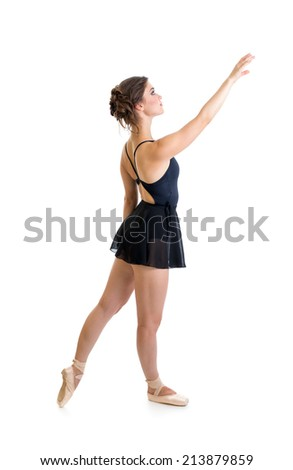 standing dancer girl isolated on white