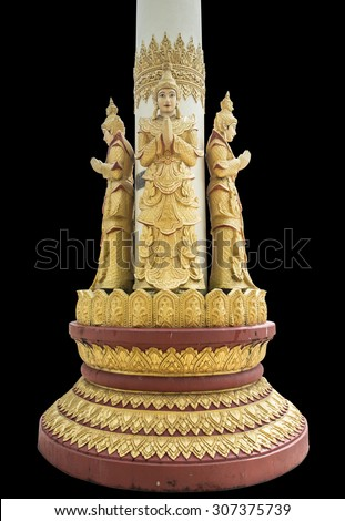 Standing deva statue at column in Temple Kyauk Taw Gyi Pagoda in Yangon, Myanmar ,isolate on black background - stock photo