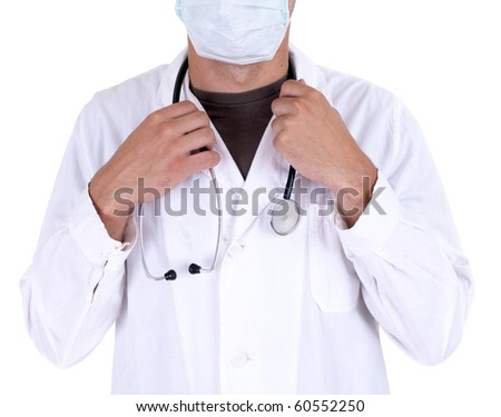 standing doctor in white uniform and medical mask with stethoscope - stock photo