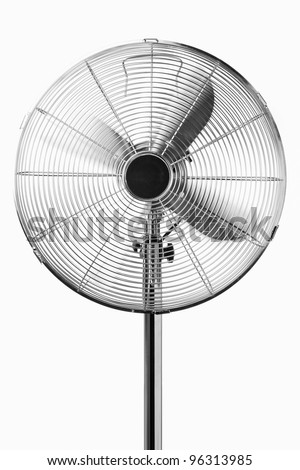 Standing fan is running and blowing toward, white background. - stock photo