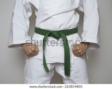 standing fighter green belt centered martial arts  - stock photo