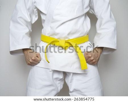 standing fighter yellow belt centered martial arts white suit - stock photo