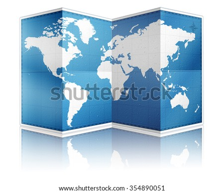 Standing folded world paper map with reflection on white - stock photo