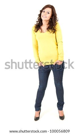 standing front attractive young woman, full length, white background