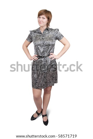 Standing girl in dress. Isolated with clipping path - stock photo