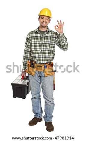 standing handyman with toolbox smile  isolated on white