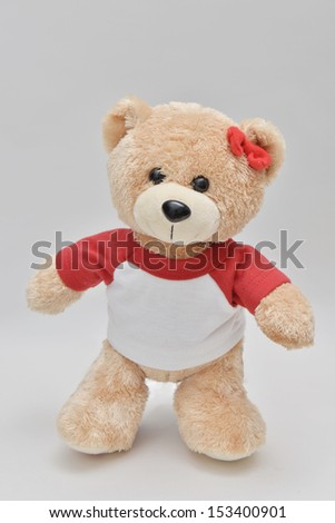 standing light brown teddy bear on white background - stock photo