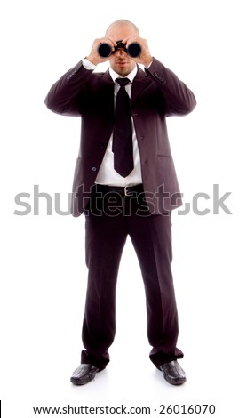 standing male looking through binocular on an isolated white background - stock photo