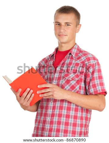 standing male student with book, white background