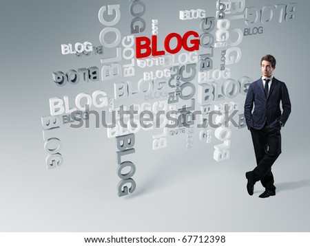 standing man and 3d blog abstract background - stock photo