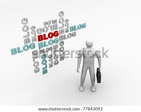 standing man and 3d blog abstract background - 3d illustration