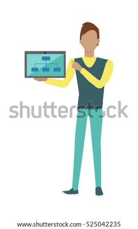 Standing man in yellow blue sweater and blue pants with laptop presents web infographic. Gray laptop with spreadsheet on blue screen. Website development project, SEO process information