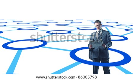 standing man reading newspaper in 3d virtual connection - stock photo