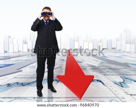 standing man with classic binocular and 3d background - stock photo