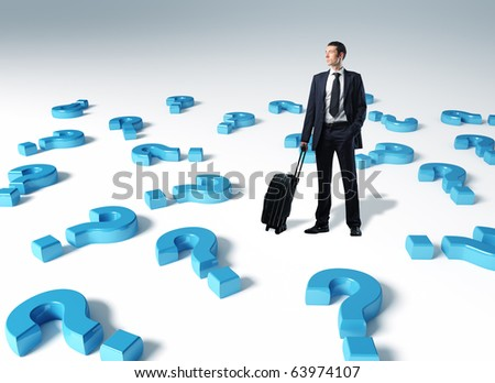standing man with suitcase and 3d question mark background - stock photo