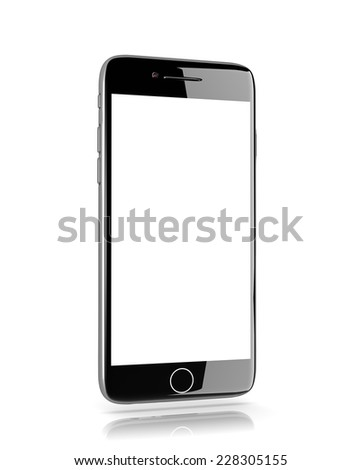 Standing Metallic Smartphone with White Blank Display on White Background 3D Illustration - stock photo
