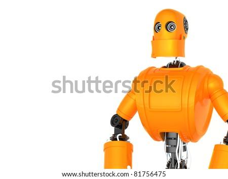 Standing Orange Robot. Isolated on white background. - stock photo