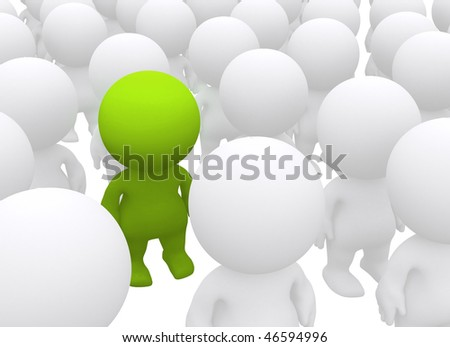 Standing out 3D man in a crowd - isolated over a white background - stock photo