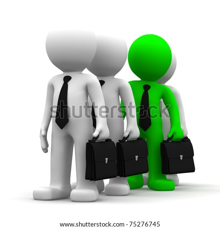 Standing Out from the Crowd. Conceptual business image on white background - stock photo