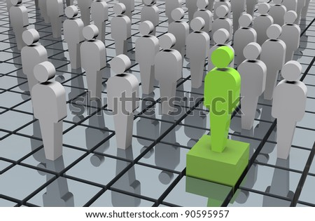 Standing out from the crowd: eco friendly business development 3d illustration - stock photo