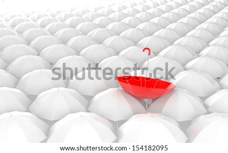 Standing out from the crowd. Umbrella metaphor - stock photo