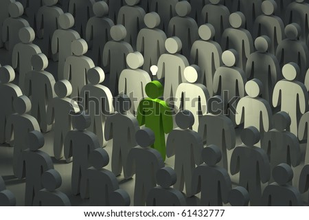 Standing out from the crowd with an idea - stock photo