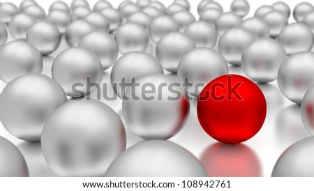 Standing out of the crowd. 3d metal balls. - stock photo