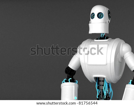 Standing Robot with dark blank background. Front view - stock photo