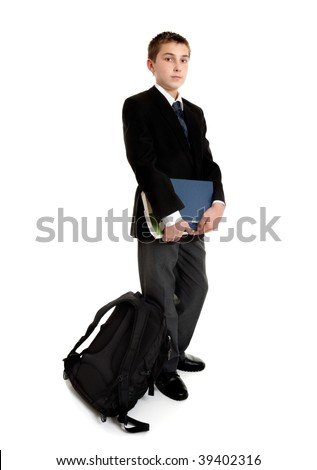 Standing school student with school bag and text books.