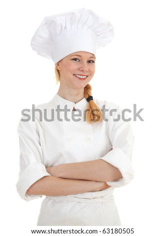 standing smiling woman cook in white uniform and hat with crossed arms - stock photo