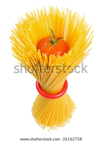 Standing spaghetti on white background in a decorative way