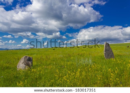 Standing stones. A small stone circle. Prehistoric Standing Stone.