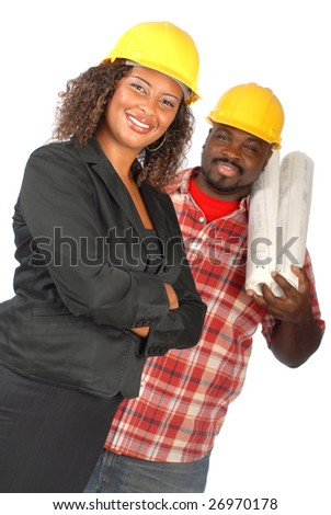 Standing team of female architect and construction worker on white background