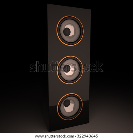 Standing vertical amp, 3d render, square image