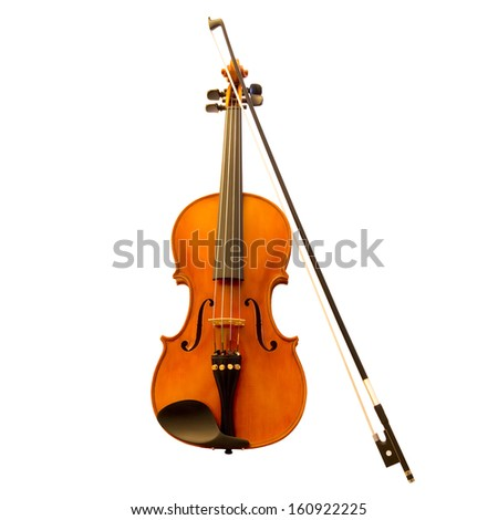 Standing violin with a fiddlestick (violin bow) - stock photo