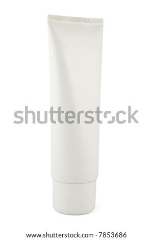 Standing White Tube with copy space isolated on a white background